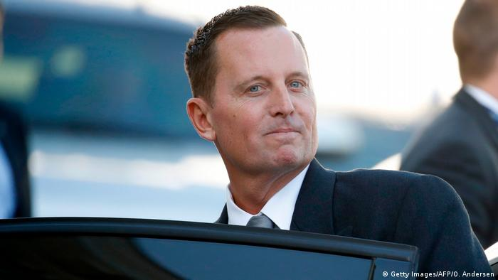 Newly accredited US Ambassador Richard Allen Grenell gets in his car after an accreditation ceremony for new Ambassadors in Berlin, Germany