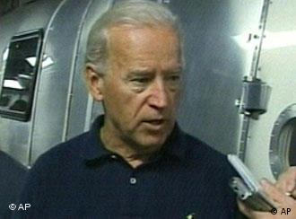 In this frame grab made from television, U.S. Vice President Joe Biden speaks to reporters aboard a C17 plane en route to Baghdad early Thursday July 2, 2009. (AP Photo/APTN)