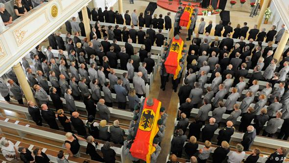 A commemoration service for German soldiers killed in June in Afghanistan