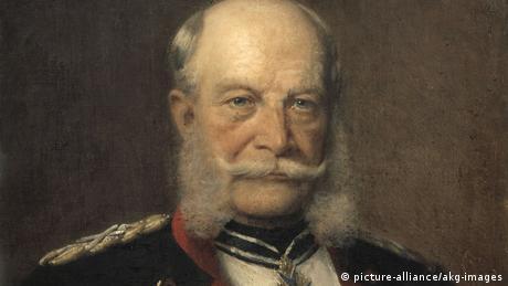Auf einem Ölgemälde ist Wilhelm I. mit gezwirbeltem Schnäuzer und Backenbart zu sehen.