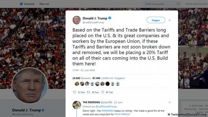Скриншот одного из твитов Трампа