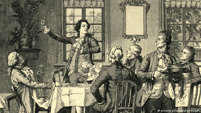 Holzstich Goethe mit Hoepfner, Merck und Schmid an der Wirtstafel in Giessen (picture-alliance/akg-images)