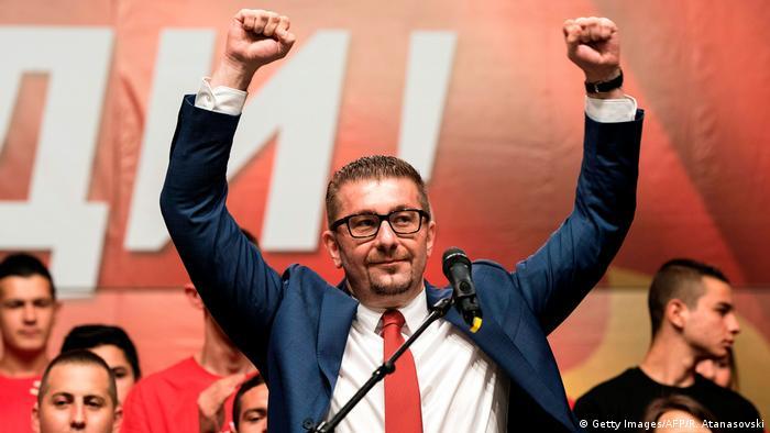 Mazedonien Hristijan Mickovski Parteichef der oppositionellen VMRO DPMNE (Getty Images/AFP/R. Atanasovski)