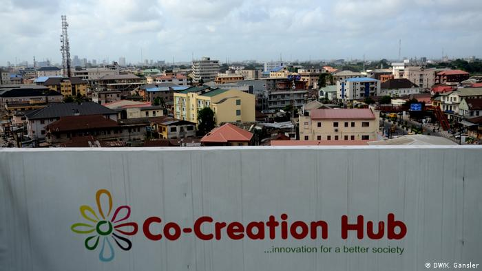 View from the veranda of Co-Creation hub with logo in the foreground