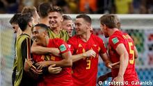 Soccer Football - World Cup - Quarter Final - Brazil vs Belgium - Kazan Arena, Kazan, Russia - July 6, 2018 Belgium's Youri Tielemans celebrates with teammates after the match REUTERS/Gleb Garanich