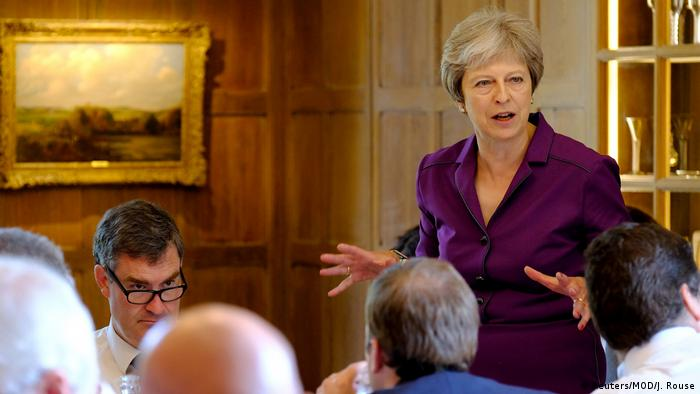 Britain's Prime Minister Theresa May commences a meeting with her cabinet to discuss the government's Brexit plans at Chequers