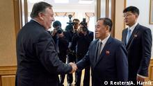 Secretary of State Mike Pompeo meets with Kim Yong Chol, second from right, a North Korean senior ruling party official and former intelligence chief, for a second day of talks at the Park Hwa Guest House in Pyongyang, North Korea, Saturday, July 7, 2018. Andrew Harnik/Pool via Reuters TPX IMAGES OF THE DAY