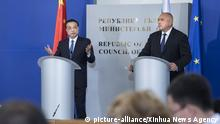 (180706) -- SOFIA, July 6, 2018 (Xinhua) -- Chinese Premier Li Keqiang and Bulgarian Prime Minister Boyko Borissov attend a joint press conference in Sofia, Bulgaria, July 6, 2018. (Xinhua/Li Tao)(mcg) | Keine Weitergabe an Wiederverkäufer.