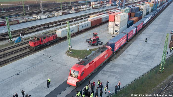 The Xiang Ou Express Budapest-Changsha return freight train in Budapest