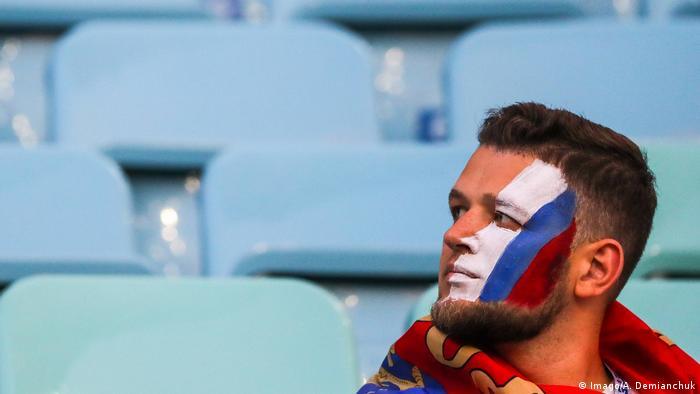Российский болельщик на матче Россия - Хорватия, 27 июля 2018 года