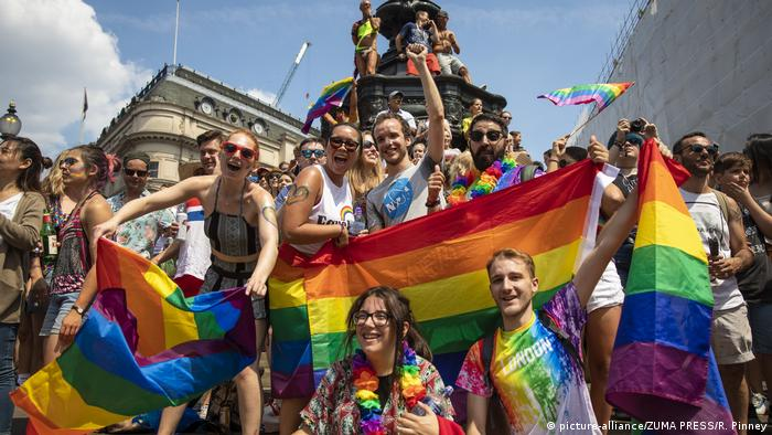 Parada do orgulho gay em Londres, em julho de 2018