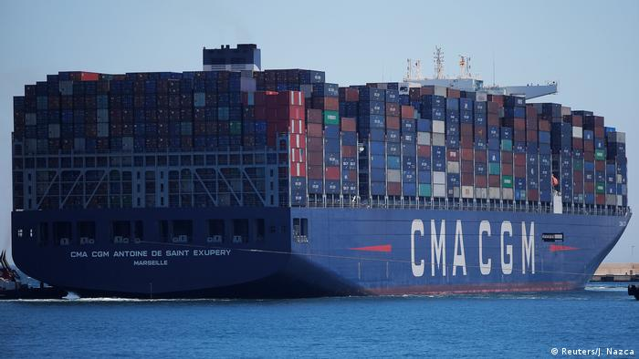 Containers are pictured on the Antoine de Saint Exupery cargo ship of French shipping company CMA CGM
