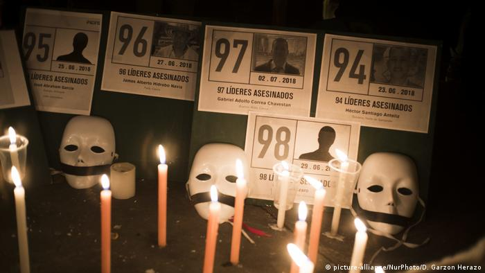 Candles and white masks placed in front of placards with photos of killed activists (picture-alliance/NurPhoto/D. Garzon Herazo)