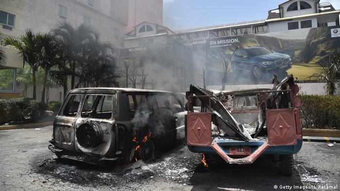 Burned out cars in Port-au-Prince, Haiti