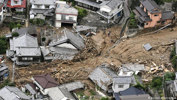 Houses destroyed by landslides