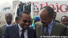 Screenshots von Twitter, Quelle: https://twitter.com/fitsumaregaaHE PM Dr Abiy Ahmed is very warmly received by HE President Isaias Afwerki & an amazing number of people when he arrived in #Asmara for this historic visit. The visit offers a spectacular opportunity to decidedly move forward #peace for the good of our people. #Eritrea #Ethiopia