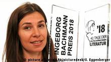ABD0017_20180708 - KLAGENFURT - ÖSTERREICH: ZU APA0106 VOM 8.7.2018 - Tanja Maljartschuk (Ingeborg-Bachmann-Preis) am Sonntag, 8. Juli 2018, anl. der Verleihung des Bachmann-Preises und der weiteren Preise der Tage der deutschsprachigen Literatur in Klagenfurt. - FOTO: APA/GERT EGGENBERGER |