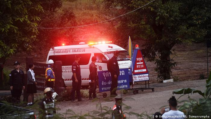 An ambulance leaves the Tham Luang cave area after divers evacuated some of the 12 boys (Getty Images/AFP/L. Suwanrumpha)