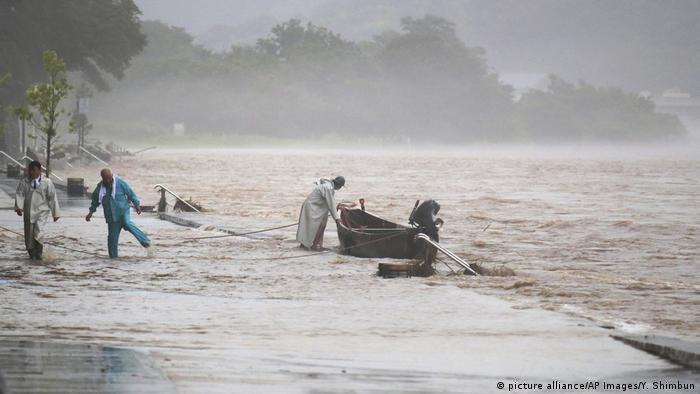 Nagaragawa River is swollen due to heavy rain in Nagara City, Gifu Prefecture on July 6, 2018