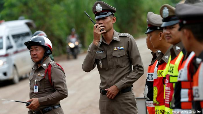 Police block road leading to Tham Luang cave complex
