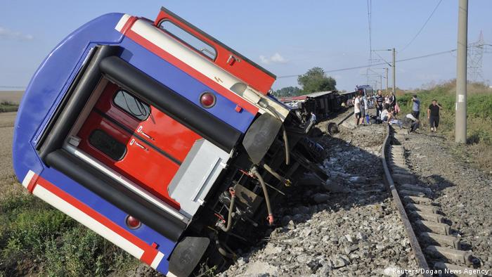 In the photo, the train overturned in the vicinity of Tekirdag, Turkey.  (8.07.2018).