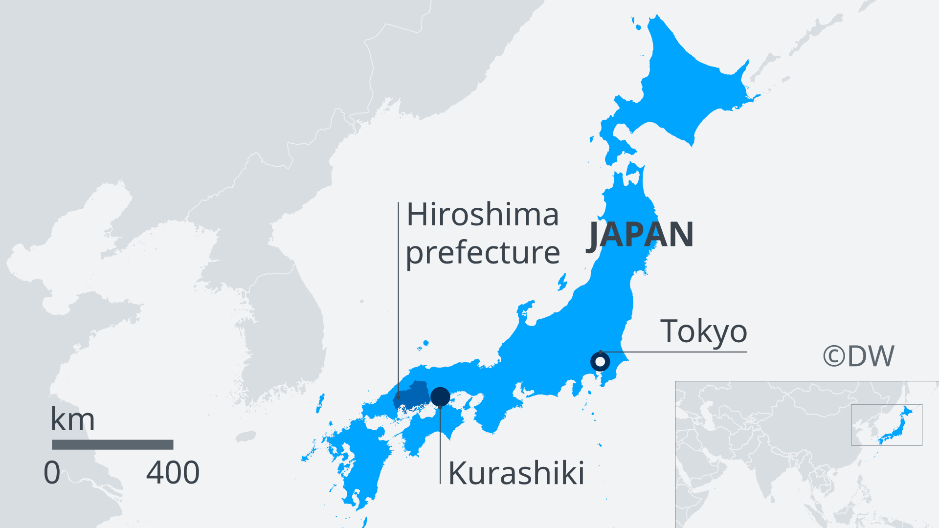A map of Japan showing the hardest-hit areas