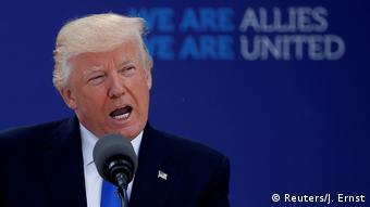 Дональд Трамп выступает в штаб-квартире НАТО в Брюсселе, май 2017 года