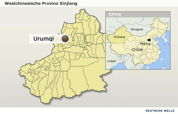 Karte der Provinz Xinjiang (Quelle: DW/Olof Pock)