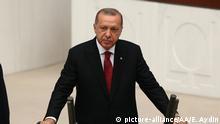 ANKARA, TURKEY - JULY 9: Turkish President Recep Tayyip Erdogan takes oath of office to become first president under new system of government at Grand National Assembly of Turkey (TBMM) in Ankara, Turkey on July 9, 2018. Evrim Aydin / Anadolu Agency   Keine Weitergabe an Wiederverkäufer.