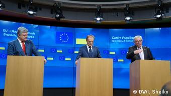 Петр Порошенко, Дональд Туск и Жан-Клод Юнкер на пресс-конференции в Брюсселе