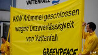 Greenpeace activists protest nuclear power