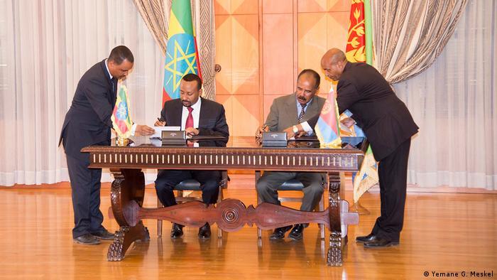 President Isaias Afwerki & Prime Minister Abiy Ahmed in Asmera (Yemane G. Meskel)
