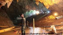 Members of the Royal Thai Navy along with volunteers from England, the United States, Australia, and China, are pictured as they prepare to rescue 12 schoolboys, members of a local soccer team, and their coach, from the Tham Luang Cave network in Northern Thailand. Two British volunteer divers found the missing boys Monday after a nine-day search. Photo by Royal Thai Navy/UPI picture alliance |