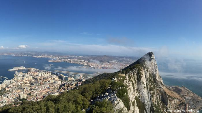 An aerial view of the Rock of Gibraltar