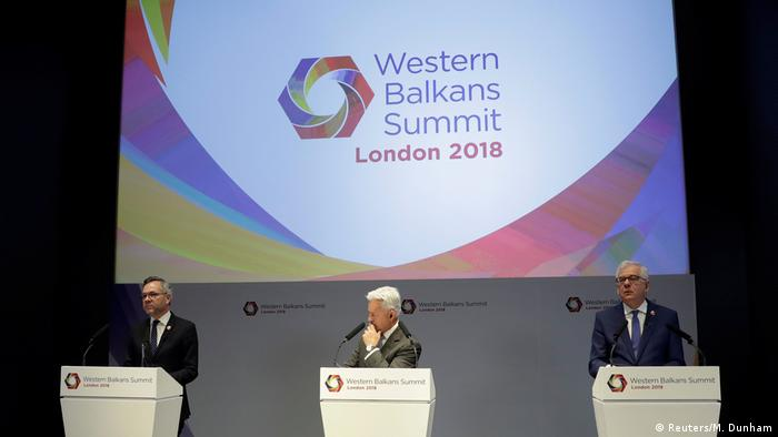 West Balkan summit in London with Michael Roth, Alan Duncan and Jacek Czaputowicz speaking (Reuters/M. Dunham)