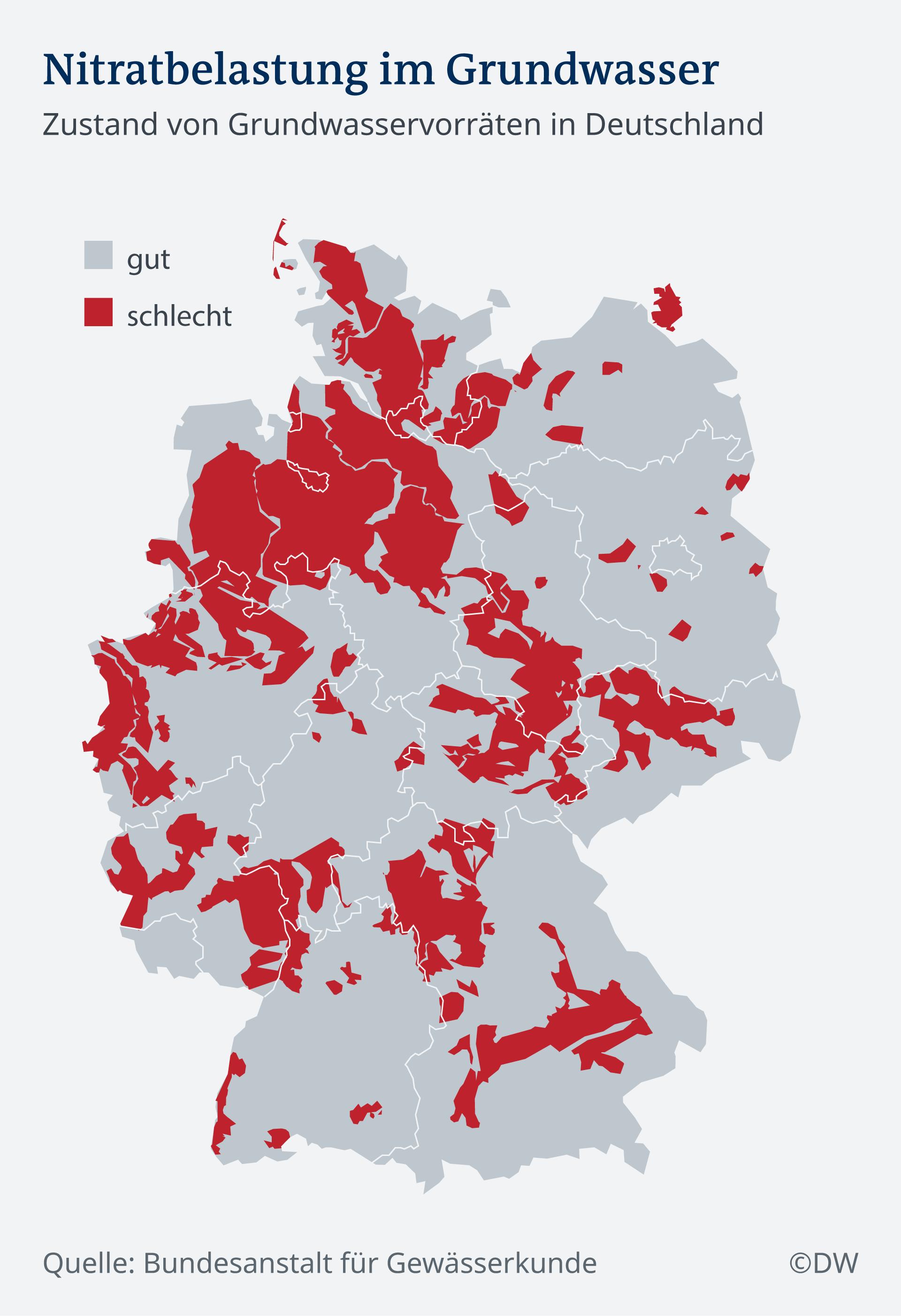 Infografik Nitratbelastung im Grundwasser DE