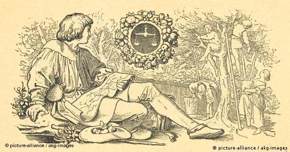 Monatsbild September (Wanderer und Obsternte) - Holzstich nach Zeichnung von Moritz von Schwind (Foto: picture-alliance / akg-images)