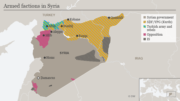 Map showing territories held by armed factions in Syria as of July 10, 2018