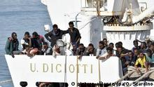 A file picture of the Diciotti vessel with migrants onboard