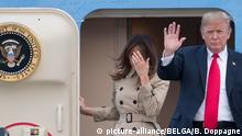 10.07.2018 First Lady of the US Melania Trump and US President Donald Trump pictured at the arrival of the President of The United States of America at the military airport in Melsbroek, Steenokkerzeel, Tuesday 10 July 2018. President Trump is attending a NATO (North Atlantic Treaty Organization) summit on Thursday. BELGA PHOTO BENOIT DOPPAGNE Foto: Benoit Doppagne/BELGA/dpa |