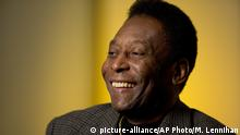 Edson Arantes do Nascimento, better known as Pelé, is interviewed at The Associated Press, Wednesday, April 2, 2014 in New York. The retired Brazilian soccer star played on three winning World Cup teams in 1958, 1962, and 1970. (AP Photo/Mark Lennihan) |