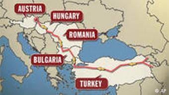 مسیر اروپایی لوله گاز در طرح نابوکو