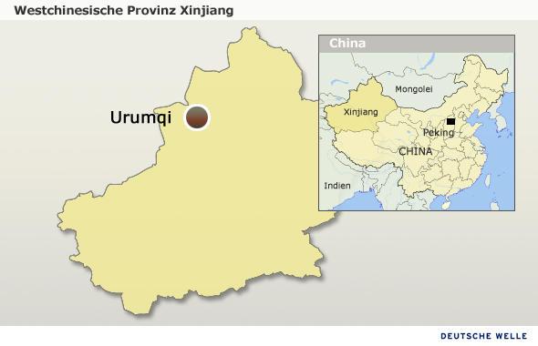 Karte der westchinesischen Provinz Xinjiang mit Provinzhauptstadt Urumqi (Quelle: DW/Olof Pock)um: 06.07.2009