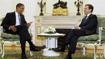 Барак Обама и Дмитрий Медведев в Москве