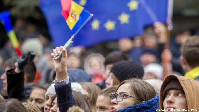 A young Moldovan girl during a protest in Chisinau in 2016