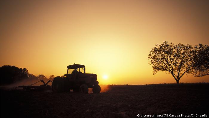 A tractor on a field