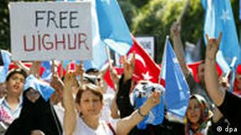 Turkish and Uighur protesters take part in a demonstration near the Consulate of People's Republic of China in Istanbul, Turkey, in July 2009