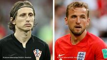 Fussball WM 2018 Bildkombo l Luka Modric vs Harry Kane