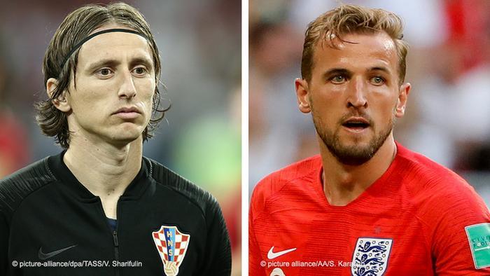 Fussball WM 2018 Bildkombo l Luka Modric vs Harry Kane