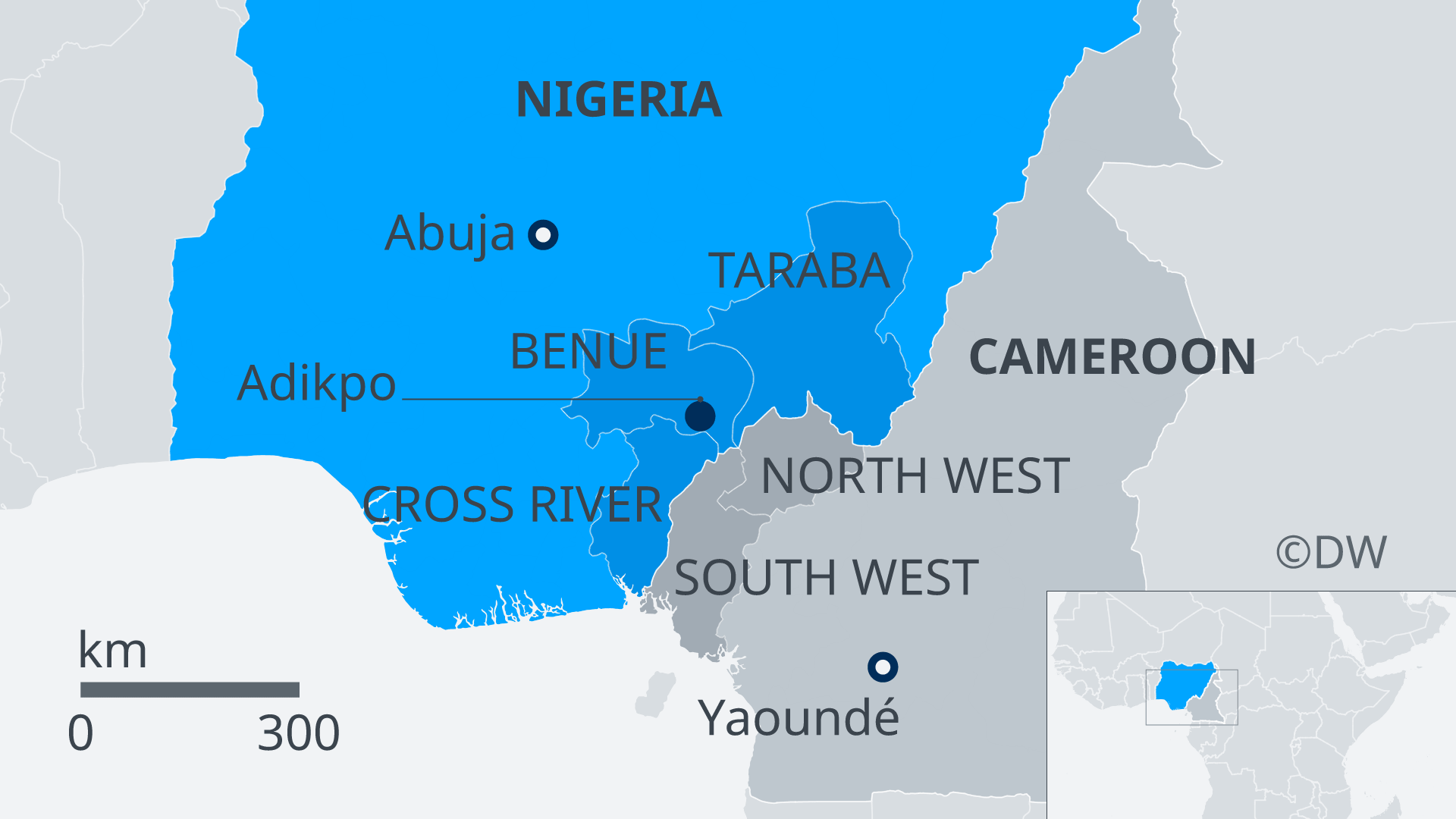 A map showing Nigeria and neigboring Cameroon